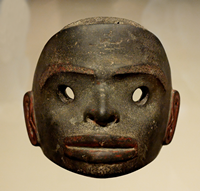 a wooden mask