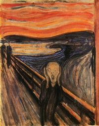 Edvard Munch: The Scream is picture of ghostly figure screaming in fear